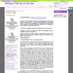 """""""Pédagogie : le devoir de résister"""" - intervention de Philippe Meirieu"""