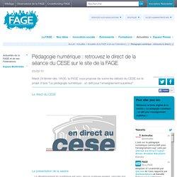 Pédagogie numérique : retrouvez le direct de la séance du CESE sur le site de la FAGE