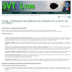 Stage « Pédagogie par objectif en Sciences de la vie et de la Terre » - SVT Lyon