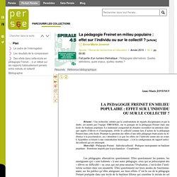 La pédagogie Freinet en milieu populaire : effet sur l'individu ou sur le collectif ?