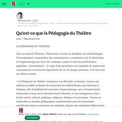 Qu'est-ce que la Pédagogie du Théâtre – Open EdTech – Medium
