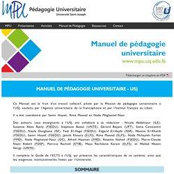 Manuel de Pédagogie Universitaire - Mission de Pédagogie Universitaire