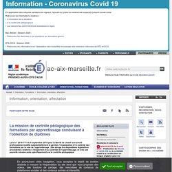La mission de contrôle pédagogique des formations par apprentissage - Académie d'Aix-Marseille