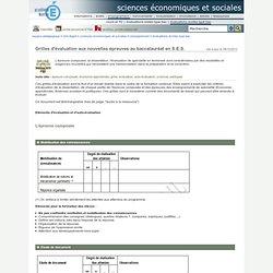 sciences économiques et sociales - Grilles d'évaluation aux nouvelles épreuves au baccalauréat en S.E.S.