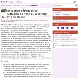 Exception pédagogique : Diffusion de films ou d'extraits de films en classe - Pédagogie - Direction des services départementaux de l'éducation nationale du 16