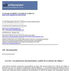 Le Café Pédagogique Mensuel - EDITION CDI DOCUMENTATION