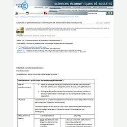 sciences économiques et sociales - Evaluer la performance économique et financière des entreprises.