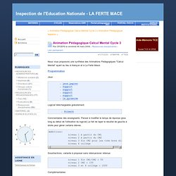 Animation Pédagogique Calcul Mental Cycle 3 - Inspection de l'Education Nationale - LA FERTE MACE