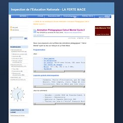 Animation Pédagogique Calcul Mental Cycle 2 - Inspection de l'Education Nationale - LA FERTE MACE