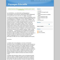 La médiation, une directive pédagogique d'enseigner d'une façon interactive (Irène Steinert) - Paysages Educatifs