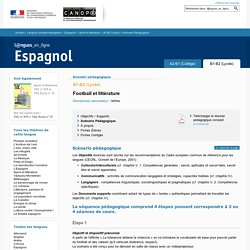 Scénario Pédagogique - Dossier B1-B2 (Lycée) - Sport et littérature - Espagnol - Langues en ligne - CNDP