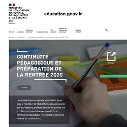 Continuité pédagogique et préparation de la rentrée 2020