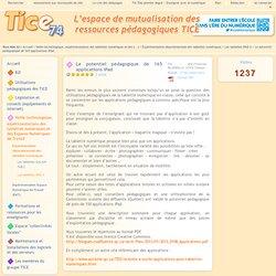 Tice 74 - Site des ressources pédagogiques TICE - Le potentiel pédagogique de 165 applications iPad