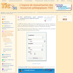 Tice 74 - applications pour tablettes