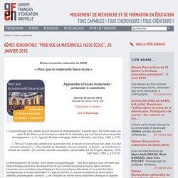 secteur maternelle du GFEN - outils et ressources pédagogiques - ressources pour la maternelle -l'école maternelle - difficulté scolaire