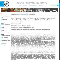 Usages pédagogiques du tableau numérique interactif. Etude exploratoire pour l'enseignement et l'apprentissage d'une discipline scolaire au cycle III de l'école primaire en France