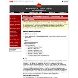 Ressources p dagogiques - Annuaires Canadiens : Qui Habitait Où