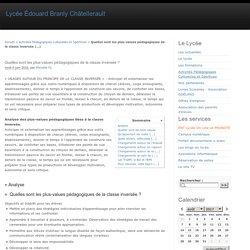 Quelles sont les plus-values pédagogiques de la classe inversée ? - Lycée Édouard Branly Châtellerault