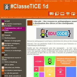 Educode : des ressources pédagogiques numériques à destination des élèves et des enseignants