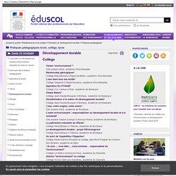 Pratiques pédagogiques - Développement durable