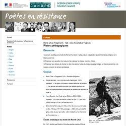 Fragment « 128 » des Feuillets d'Hypnos de René Char :Pistes pédagogiques-Poètes en résistance-Centre National de Documentation Pédagogique