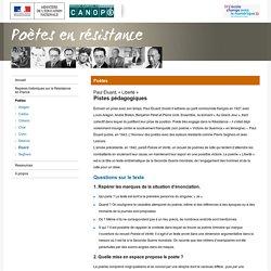 « Liberté » de Paul Éluard :Pistes pédagogiques-Poètes en résistance-Centre National de Documentation Pédagogique