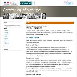 « Je trahirai demain » de Marianne Cohn :Pistes pédagogiques-Poètes en résistance-Centre National de Documentation Pédagogique
