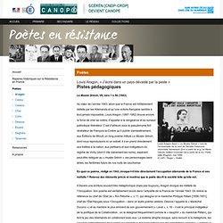 « J'écris dans un pays dévasté par la peste » de Louis Aragon :Pistes pédagogiques-Poètes en résistance-Centre National de Documentation Pédagogique