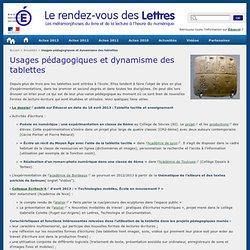 Usages pédagogiques et dynamisme des tablettes - Le rendez-vous des Lettres