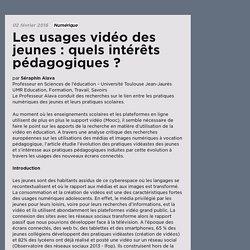 Les usages vidéo des jeunes : quels intérêts pédagogiques