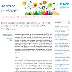 La mise en place d'une démarche compétences par neuf équipes pédagogiques des établissements partenaires de la COMUE Université Paris-Est.