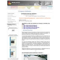 Quatre blogs pédagogiques: expériences et réflexions