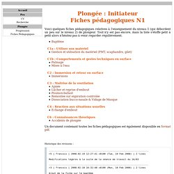 Fiches Pédagogiques - Initiateur - Plongée