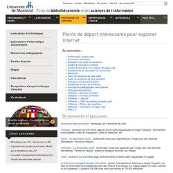 Ressources pédagogiques - Points de départ intéressants pour explorer Internet