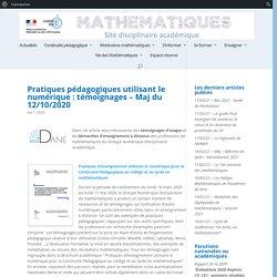 Pratiques pédagogiques utilisant le numérique : témoignages – Maj du 02/04/2020