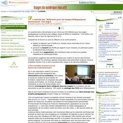 """L'activité des """"Référents pour les Usages Pédagogiques Numériques"""" 2nd degré- Usages du numérique éducatif"""