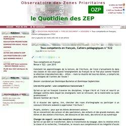 Tous compétents en français, Cahiers pédagogiques n°522
