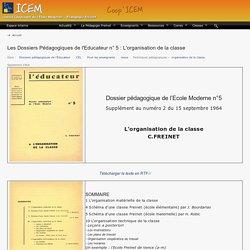 Les Dossiers Pédagogiques de l'Educateur n° 5 : L'organisation de la classe