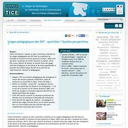L'Agence nationale des Usages des TICE - Usages pédagogiques des ENT: quel bilan? quelles perspectives?