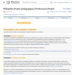Wikipédia:Projets pédagogiques/Professeurs/Projets