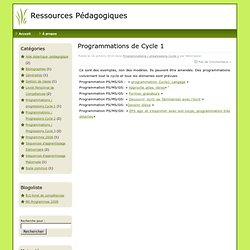 Ressources Pédagogiques » Programmations / progressions Cycle 1