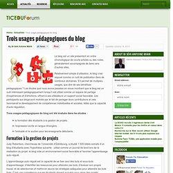 Trois usages pédagogiques du blog