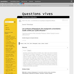 Les pratiques pédagogiques des enseignants universitaires: Quelle variété pour quelle efficacité?