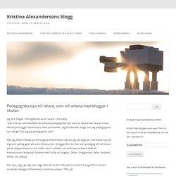 Pedagogiska tips till lärare, som vill arbeta med bloggar i skolan