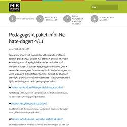 Pedagogiskt paket inför No hate-dagen 4/11