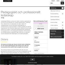 Pedagogiskt och professionellt ledarskap, 15 hp - lnu.se