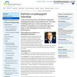 Definition av pedagogiskt ledarskap