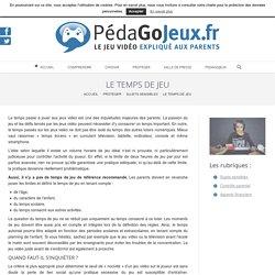 LE TEMPS DE JEU - pedagojeux.fr