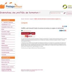 CoBRA, outil interactif d'aide à la lecture de textes en anglais et (...) - Pédagothèque.be : Platetorme pédagogique