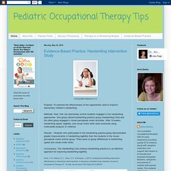 Pediatric Occupational Therapy Tips